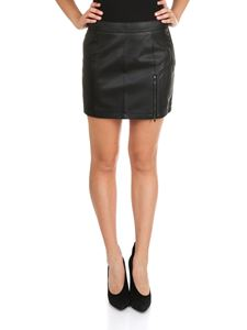 MY TWIN Twinset - Black eco-leather mini skirt