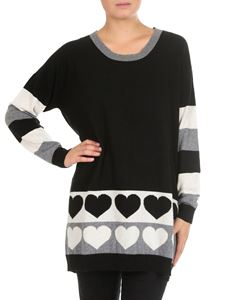 Twin-Set - Black cashmere blend pullover with intarsia