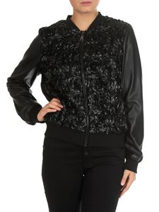 MY TWIN Twinset - Eco-leather bomber with floral motif