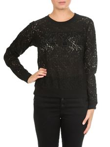 MY TWIN Twinset - Black lace effect blouse with MYT logo