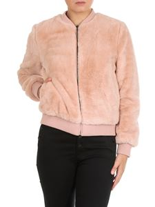 MY TWIN Twinset - Pink eco-fur bomber jacket