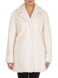 MY TWIN Twinset - MYT white eco-fur coat with shearling effect