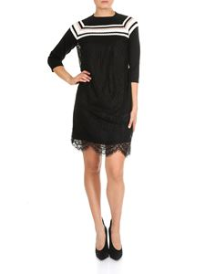 MY TWIN Twinset - Black knitted and lace dress