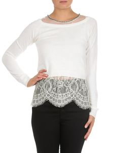 MY TWIN Twinset - White crop sweater with lace top