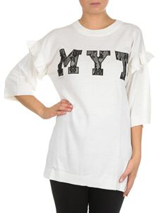 MY TWIN Twinset - White sweater with MYT lace logo
