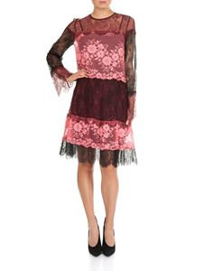 Twin-Set - Pink and black Valencienne lace dress