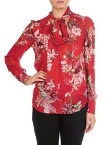 Twin-Set - Floral red tie-neck blouse