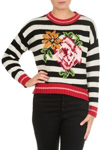Twin-Set - Striped pullover with floral embroidery