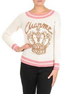 Twin-Set - Cream-colored pullover with crown embroidery