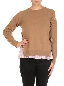 Twin-Set - Camel colored sweater with pleated top