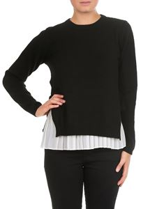 Twin-Set - Black sweater with pleated bottom top