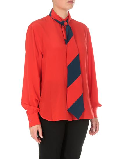 Givenchy - Red shirt with striped foulard