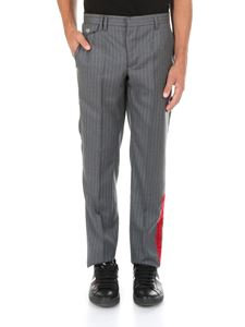 Off-White - Gray pinstripe trousers with red band