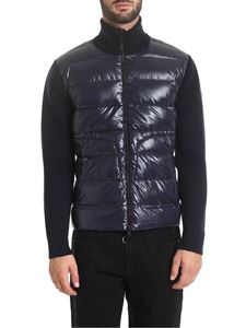 Moncler - Blue cardigan with down padding