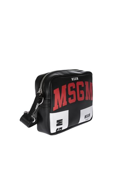 MSGM - Black leather bag with logo print