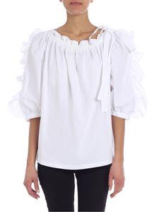 See by Chloé - Boat neckline white flared blouse