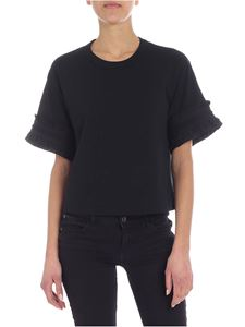 See by Chloé - Ruffled black crew-neck t-shirt