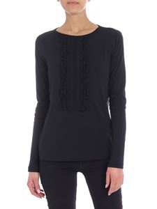See by Chloé - Ruffled black long sleeve t-shirt