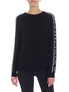 See by Chloé - Black pullover with silver logo intarsia