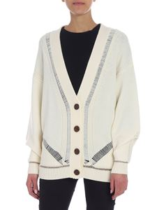 See by Chloé - Cream color overfit cardigan with golden lamé inserts