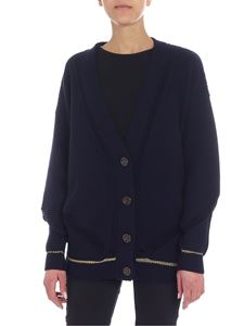 See by Chloé - Blue overfit cardigan with golden lamé inserts