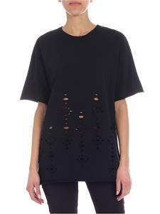 See by Chloé - Black crew-neck t-shirt with pierced details