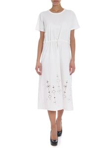 See by Chloé - Short-sleeved white dress with pierced inserts