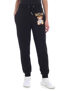 Moschino - Pantalone nero stampa Teddy Holiday