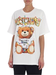 Moschino - T-shirt overfit bianca stampa Teddy Holiday