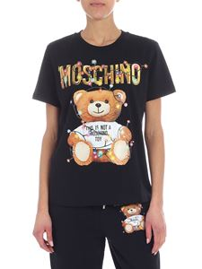 Moschino - T-shirt girocollo nera stampa Teddy Holiday
