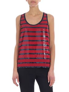 POLO Ralph Lauren - Striped sequined blue and red top