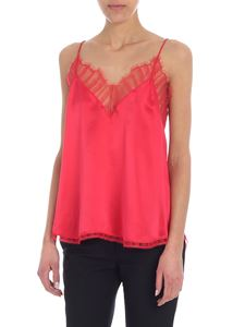 Iro - Berwyn red satin top with lace inserts
