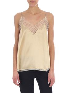 Iro - Berwyn beige satin top with lace inserts