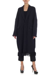 Y's Yohji Yamamoto - Y's blue and black knitted fabric coat