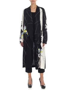 Y's Yohji Yamamoto - Y's black and white floral overcoat