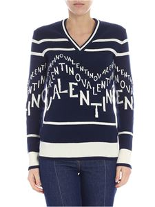 Valentino - Blue pullover with Chevron Valentino inlay