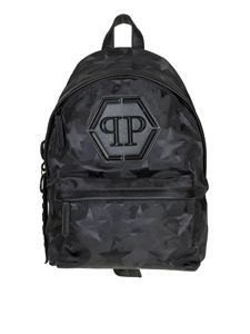 Philipp Plein - Philipp Plein black comouflage fabric backpack