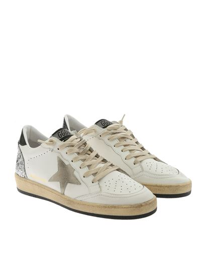 Golden Goose Deluxe Brand - Ball Star white sneakers with silver glitters