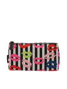 Lulu Guinness - Lip Blots striped black and white beauty case
