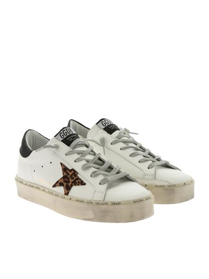 Golden Goose Deluxe Brand - White Hi Star sneakers with animalier star