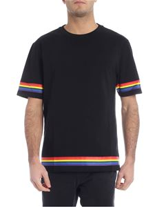Loewe - Black t-shirt with multicolor stripes