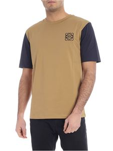 Loewe - Beige t-shirt with blue logo embroidery