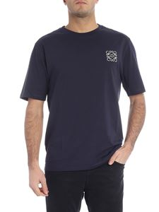 Loewe - Blue t-shirt with white logo embroidery