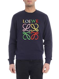 Loewe - Blue sweatshirt with multicolor logo embroidery