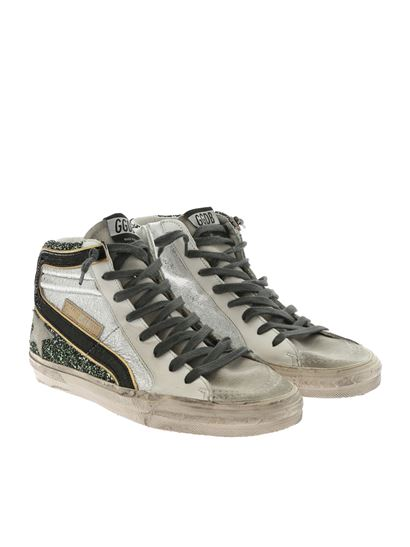 Golden Goose Deluxe Brand - Slide green and silver glittery sneakers