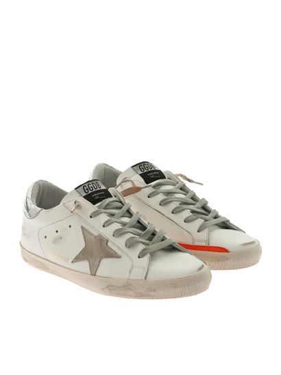 Golden Goose Deluxe Brand - White Superstar sneakers with neon sole