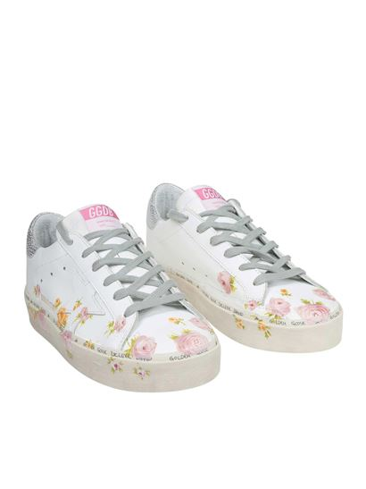 Golden Goose Deluxe Brand - Hi-Star white floral sneakers