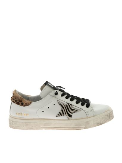 Golden Goose Deluxe Brand - May white sneakers with calfhair details