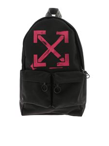 Off-White - Zaino Arrows nero con stampa fucsia