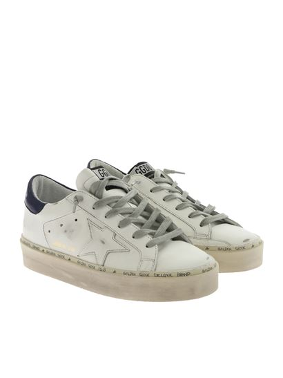 Golden Goose Deluxe Brand - Hi-Star white sneakers with blue detail